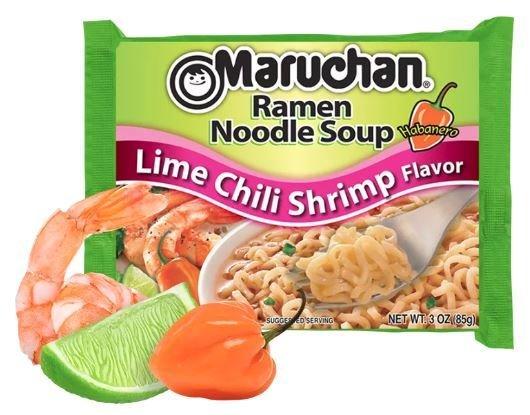Ramen, Maruchan® Ramen with Lime Chili Shrimp Flavor Noodle Soup (3 oz Bag)