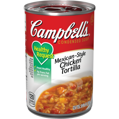 Canned Soup, Campbell's® Healthy Request® Mexican-Style Chicken Tortilla Soup (10.5 oz Can)