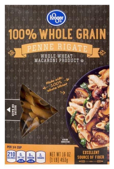 Pasta, Kroger® 100% Whole Grain Penne Rigate Pasta (16 oz Box)