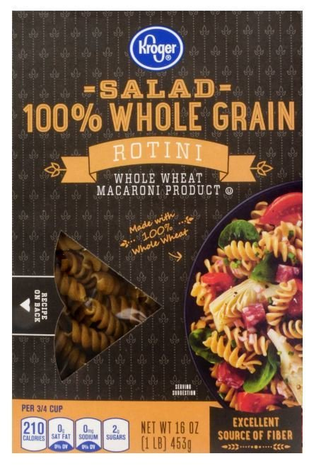Pasta, Kroger® 100% Whole Grain Rotini Pasta (16 oz Box)