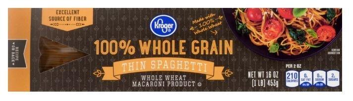 Pasta, Kroger® 100% Whole Grain Thin Spaghetti (16 oz Box)