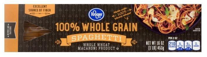 Pasta, Kroger® 100% Whole Grain Spaghetti (16 oz Box)