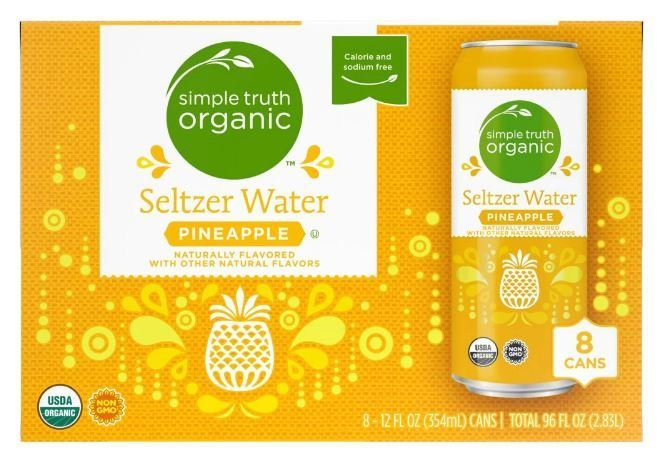 Sparkling Water, Simple Truth Organic™ Pineapple Seltzer Water (8 Count,  12 oz Cans)