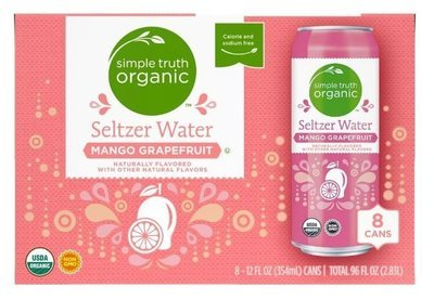 Sparkling Water, Simple Truth Organic™ Mango Grapefruit Seltzer Water (8 Count,  12 oz Cans)
