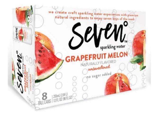 Sparkling Water, Seven® Grapefruit Melon Seltzer Water (8 Count,  12 oz Cans)