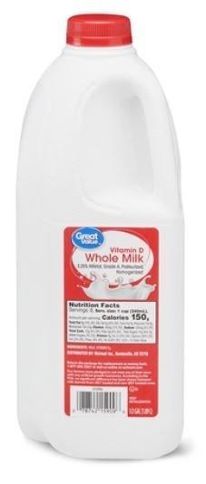 Dairy Milk, Great Value® Whole Milk (½ Gallon Carton)