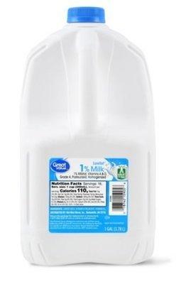 Dairy Milk, Great Value® 1% Reduced Fat Milk (1 Gallon Jug)