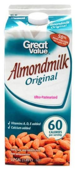Almond Milk, Great Value® Original Almond Milk (½ Gallon Carton)