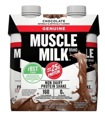 Non-Dairy Milk, Muscle Milk® Chocolate Nutritional Shake (4 Count, 11 fl oz Bottles)