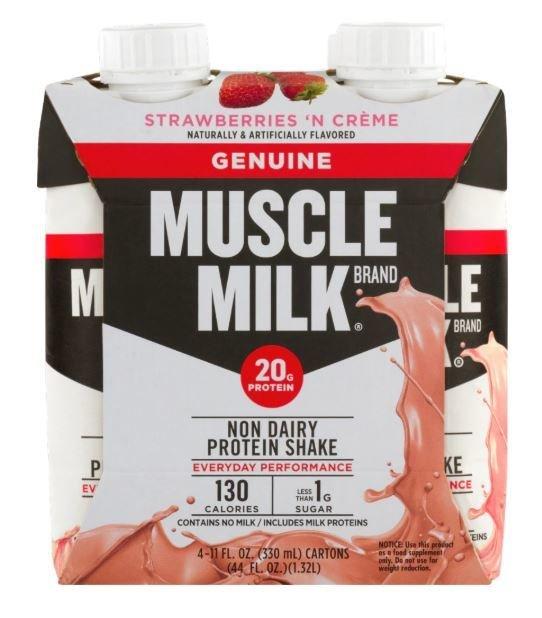Non-Dairy Milk, Muscle Milk® Strawberries 'n Creme Protein Shake (4 Count, 11 fl oz Bottles)