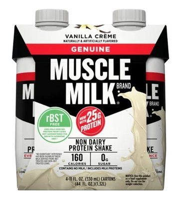 Non-Dairy Milk, Muscle Milk® Vanilla Cream Nutritional Shake (4 Count, 11 fl oz Bottles)