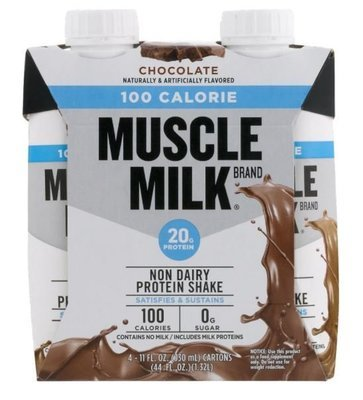 Non-Dairy Milk, Muscle Milk® 100 Calorie Chocolate Shake (4 Count, 11 fl oz Bottles)