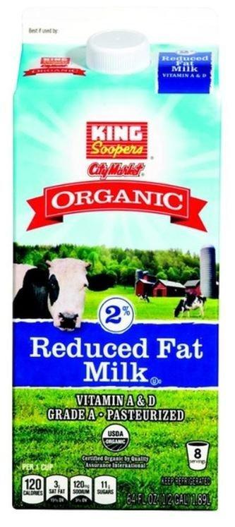 Dairy Milk, King Soopers® Organic 2% Reduced Fat Milk (½ Gallon Carton)