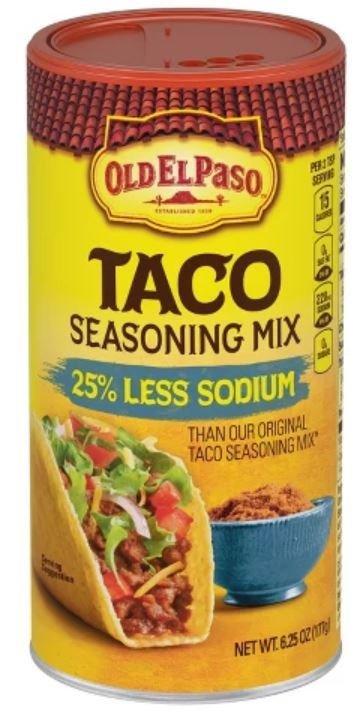 Taco Seasoning, Old El Paso® Reduced Sodium Taco Seasoning Shaker (6.25 oz Shaker)
