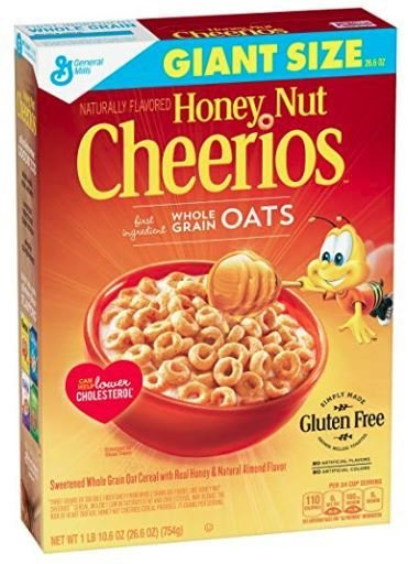 Cereal, General Mills® Cheerios® Honey Nut Cereal (Giant Size-27.2 oz Box)
