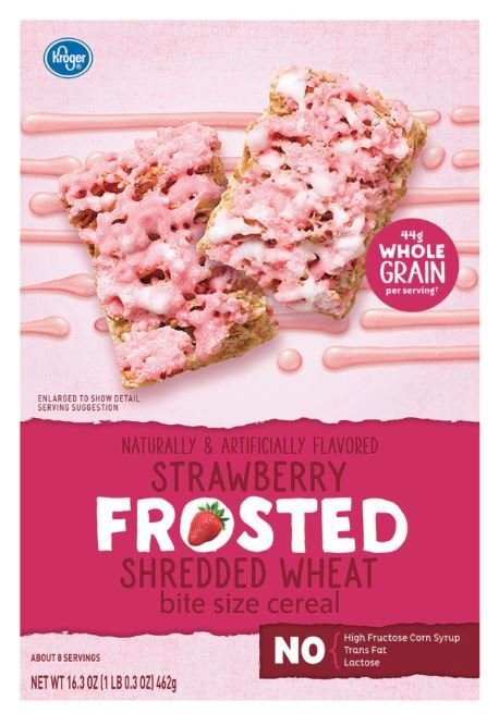 Cereal, Kroger® Strawberry Cream Frosted Shredded Wheat Cereal (16.3 oz Box)