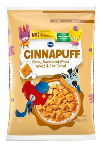 Cereal, Kroger® Cinnapuff Crispy Sweetened Whole Wheat & Rice (28 oz Bag)