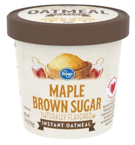 "Hot Cereal, Kroger® Instant Oatmeal ""Maple & Brown Sugar"" (1.94 oz Cup)"