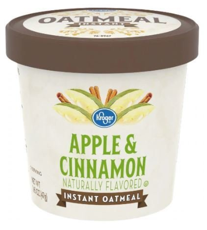 "Hot Cereal, Kroger® Instant Oatmeal ""Apple & Cinnamon"" (1.65 oz Cup)"