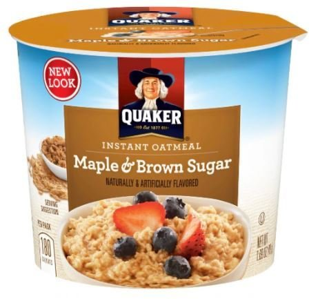 """Hot Cereal, Quaker Oats® Instant Oatmeal """"Maple & Brown Sugar"""" (1.69 oz Cup)"""