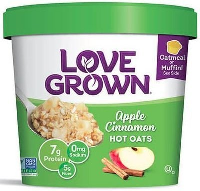 Hot Cereal, Love Grown® Hot Oats™ Apple Cinnamon Oatmeal (Single Serve 2.22 oz Cup)
