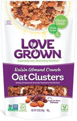 Granola Cereal, Love Grown® Oat Clusters™ Raisin Almond Crunch Granola (12 oz Bag)