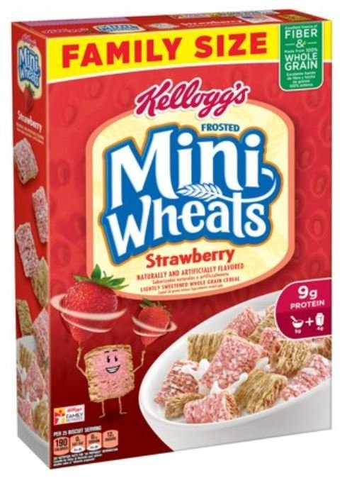 Cereal, Kellogg's® Frosted Mini-Wheats™ Strawberry Cereal (Family Size-21.5 oz Box)