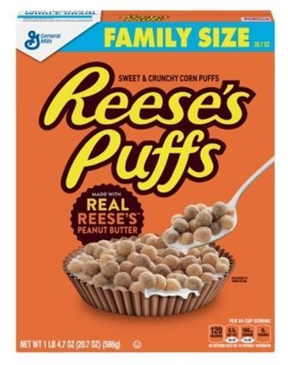 Cereal, General Mills® Reese's Puffs® Cereal (Family Size-20.7 oz Box)