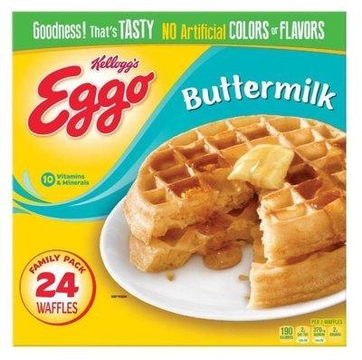 Frozen Waffles, Kellogg's® Eggo® Buttermilk Waffles (24 Count, 29.6 oz Box)