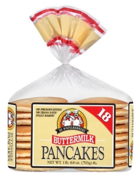 Frozen Pancakes, De Wafelbakkers® Buttermilk Pancakes (18 Count, 24.8 oz Bag)