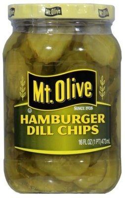 Preserved Pickles, Mt Olive® Hamburger Dill Pickle Chips (16 oz Jar)