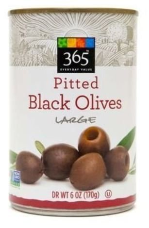 Canned Olives, 365® Organic Large Pitted Black Olives (6 oz Can)