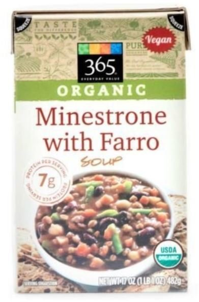 Boxed Organic Soup, 365® Organic Minestrone with Farro Soup (17 oz Box)