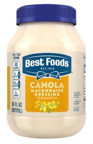 Mayonnaise, Best Foods® Canola Mayonnaise Dressing (30 oz Jar)