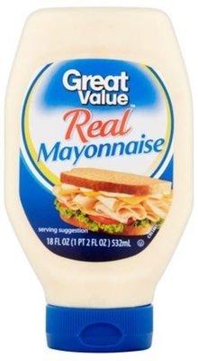 Mayonnaise, Great Value® Mayo Mayonnaise (Squeezable 18 oz Bottle)