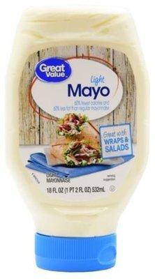 Light Mayonnaise, Great Value® Light Mayo Mayonnaise (Squeezable 18 oz Bottle)