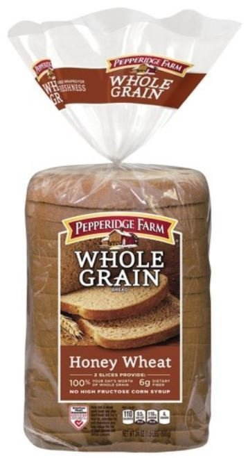 Loaf Bread, Pepperidge Farm® Whole Grain Honey Wheat Bread (24 oz Bag)