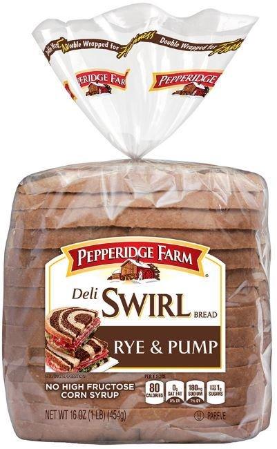 Loaf Bread, Pepperidge Farm® Deli Swirl Rye & Pumpernickel Bread (16 oz Bag)