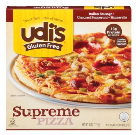 Frozen Pizza, Udi's® Gluten Free Supreme Pizza (11 oz Box)