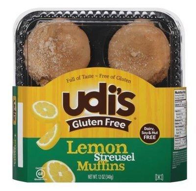 Muffins, Udi's® Gluten Free Lemon Streusel Muffins (12 oz Tray)