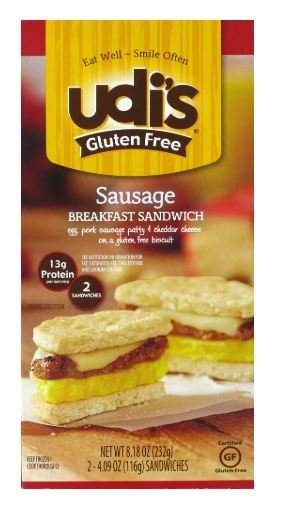 Frozen Breakfast, Udi's® Gluten Free Sausage Breakfast Sandwich (9.2 oz Box)