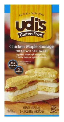 Frozen Breakfast, Udi's® Gluten Free Chicken Maple Sausage Breakfast Sandwich (9.2 oz Box)