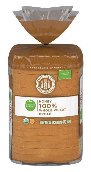 Loaf Bread, Simple Truth Organic™ Honey Whole Wheat Bread (26 oz Bag)