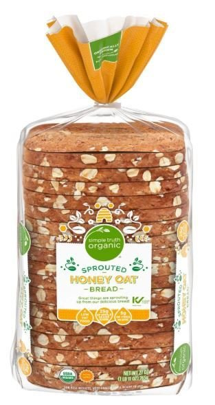 Loaf Bread, Simple Truth Organic™ Sprouted Honey Oat Bread (27 oz Bag)