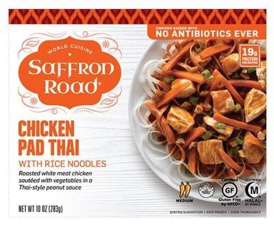 Frozen Dinner, Saffron Road® Chicken Pad Thai with Rice Noodles (11 oz Box)