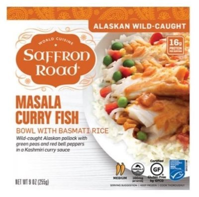 Frozen Dinner, Saffron Road® Masala Curry Fish Bowl (9 oz Box)