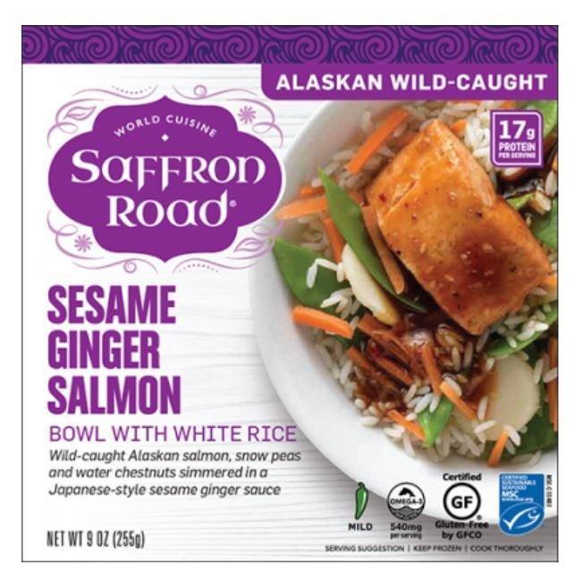Frozen Dinner, Saffron Road® Sesame Ginger Salmon Bowl (9 oz Box)