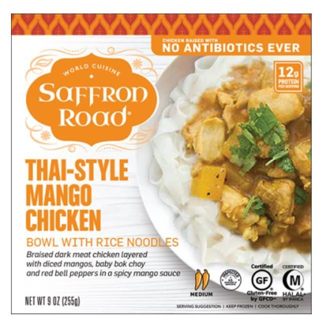 Frozen Dinner, Saffron Road® Thai-Style Mango Chicken Bowl (9 oz Box)