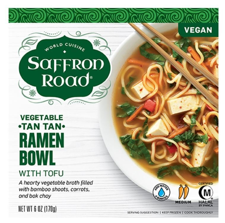 Frozen Dinner, Saffron Road® Tan Tan Ramen Bowl with Tofu (9 oz Box)