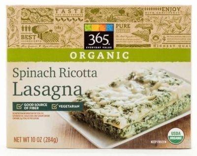 Frozen Lasagna, 365® Organic Spinach Ricotta Lasagna (10 oz Box)
